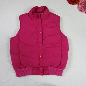 GAP Medium Pink Down Puffer Vest Quilted 3 Pockets